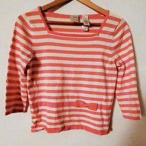 Emma James Pink White Stripe 3/4 Sleeve Blouse M
